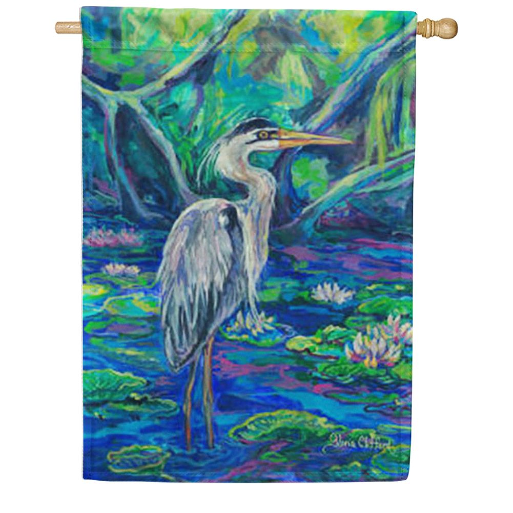Great Blue Heron Water House Flag