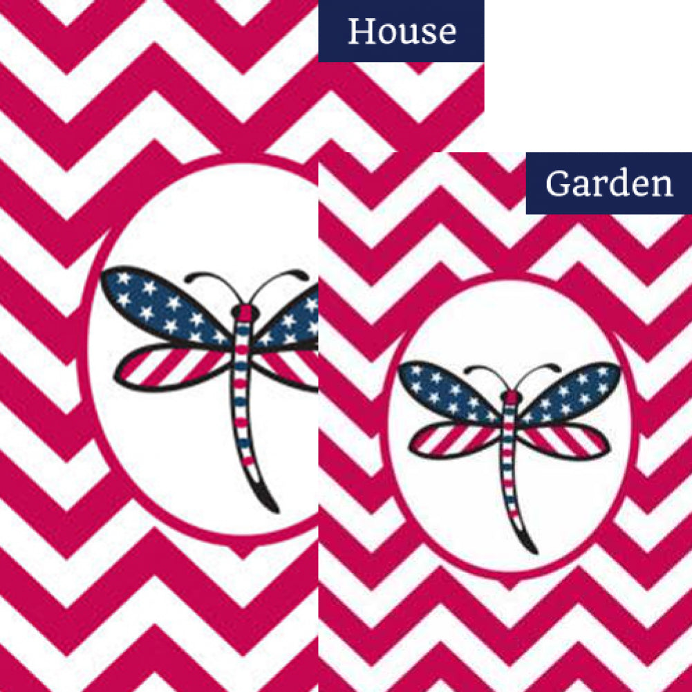 Patriotic Dragonfly-Red Flags Set (2 Pieces)