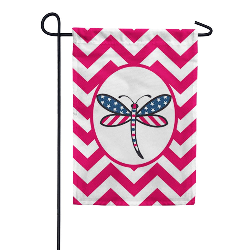 Patriotic Dragonfly-Red Garden Flag