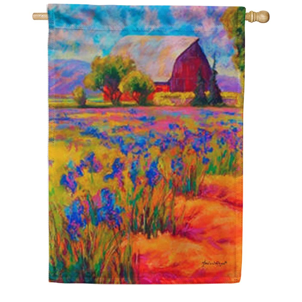 Lavender Farm House Flag