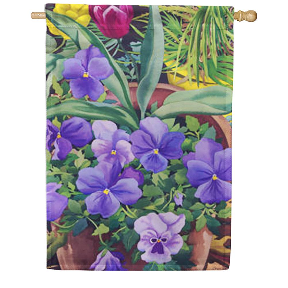 Flowerpots n' Pansies House Flag