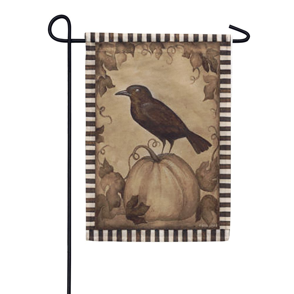 Pumpkin Crow Garden Flag