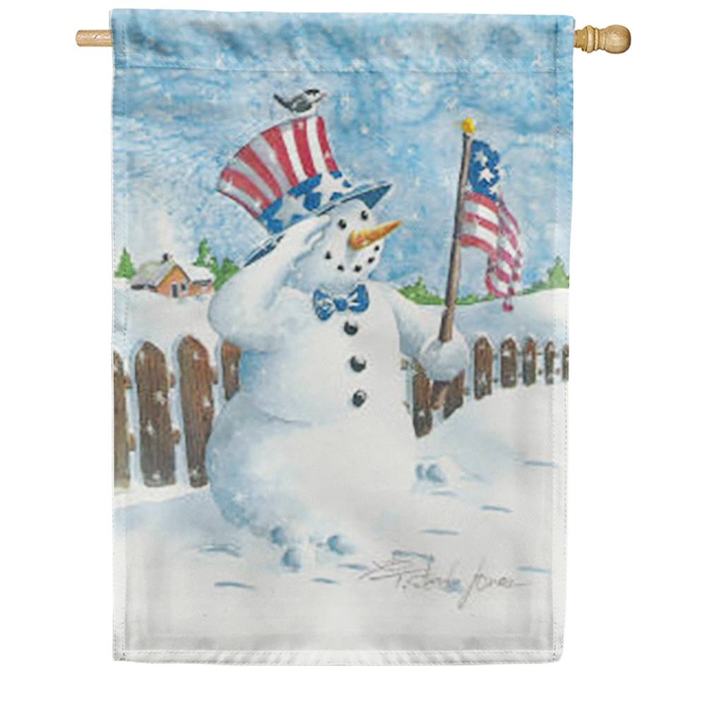 Uncle Patriotic Snowman House Flag