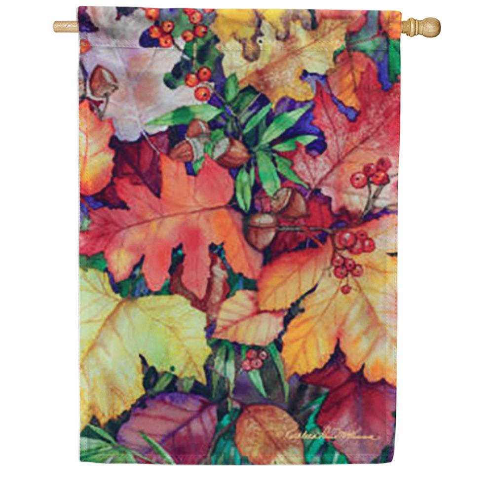 Fallen Leaves and Berries House Flag