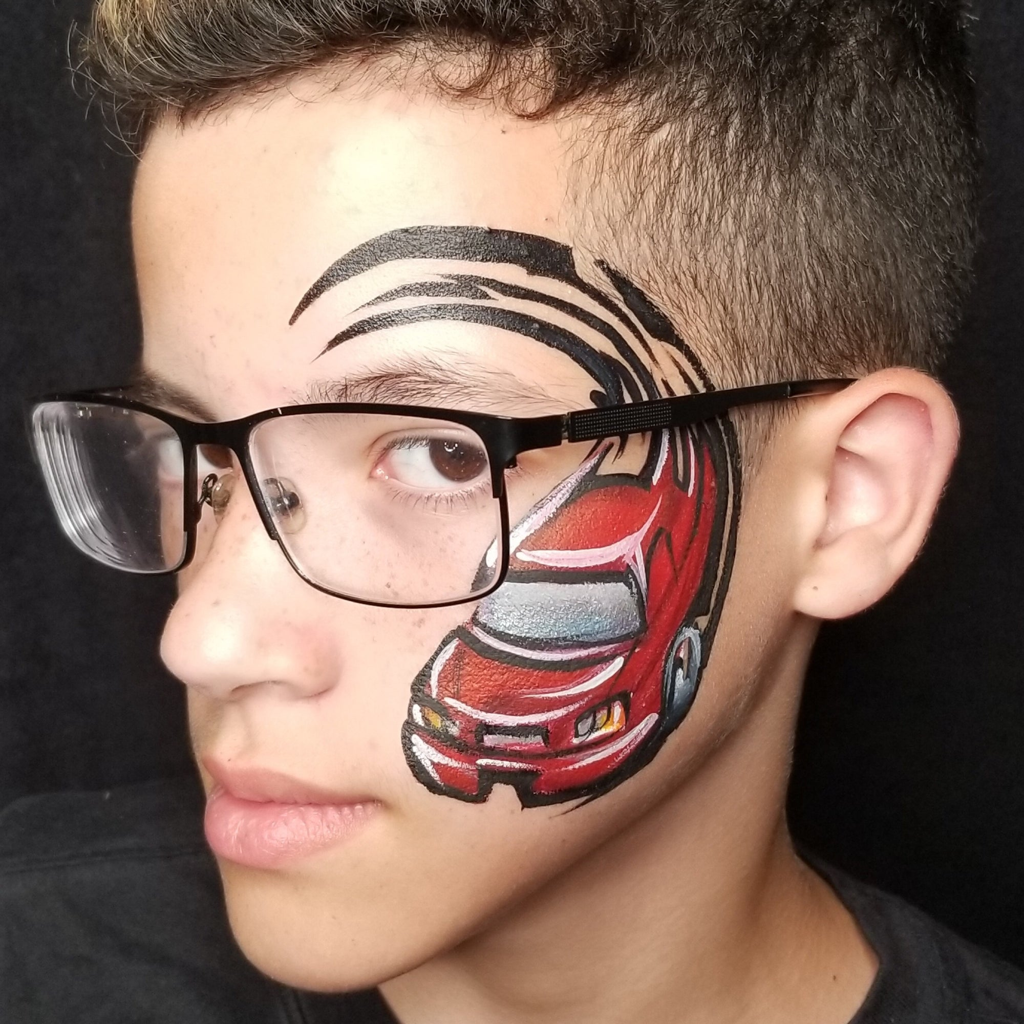 Painting with Glasses- Tribal Car by Kellie Burrus