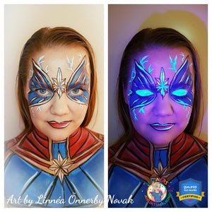 Captain Marvel Neon Butterfly Face Paint Video by Linnéa Önnerby Novak