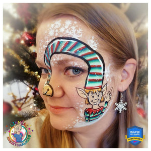 Funny Christmas Elf Face Paint Design by Linnéa Önnerby Novak
