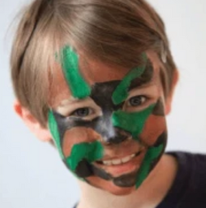 Easy Camouflage Face Paint Design Tutorial Video by Kiki
