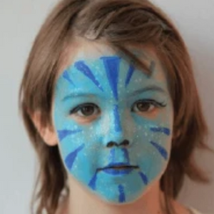 Easy Blue Space Cat Face Paint Design Tutorial Video by Kiki