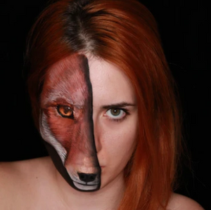 Half Face Fox Illusion Face Paint Design Video by Ana Cedoviste