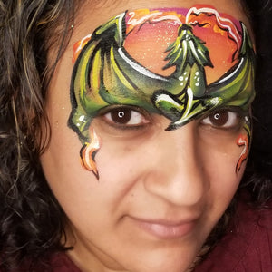 Using Kraze Dome Strokes - Dragon Face Paint Design by Kellie Burrus