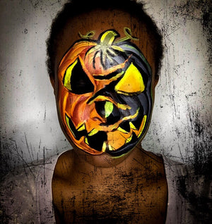 Halloween Mashup: Half Face Pumpkin Face Paint Video by Zuri FX