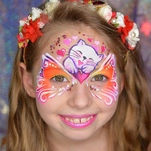 Valentine's Day Cat Face Paint Design by Natalia Kirillova