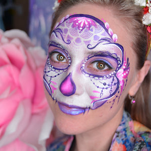 Purple Calavera Face Paint Design by Natalia Kirillova
