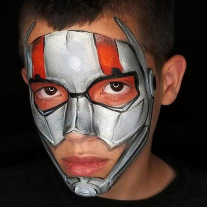 Ant-Man Face Paint design by Kellie Burrus