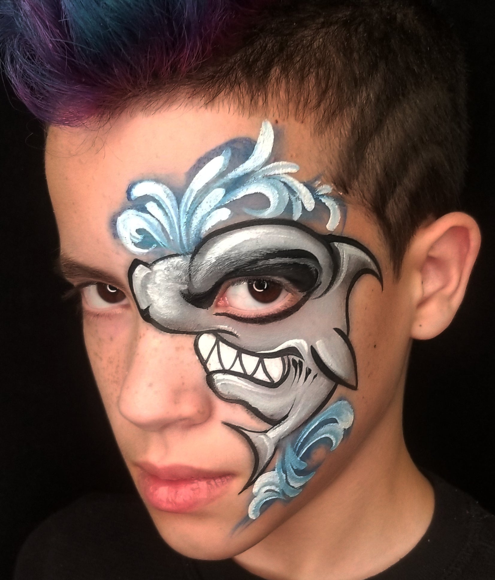Hammerhead Eye Face Paint by Kellie Burrus