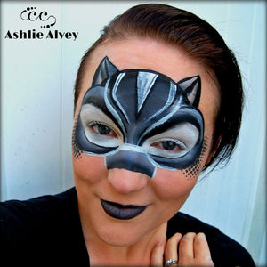Black Panther Face Paint Design by Artist Ashlie Alvey