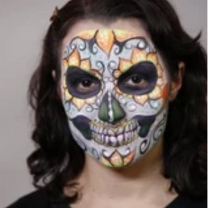 Neon Sugar Skull Face Paint Design Video Tutorial by Athena Zhe
