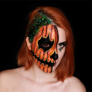 Half Face Pumpkin Face Paint Design Video by Ana Cedoviste