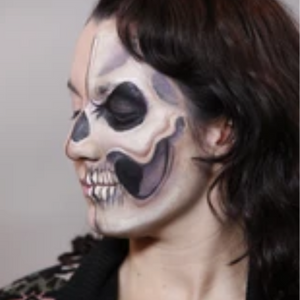 Half Face Skull Face Paint Design Video Tutorial by Athena Zhe