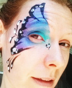 How to face paint a butterfly eye swirl
