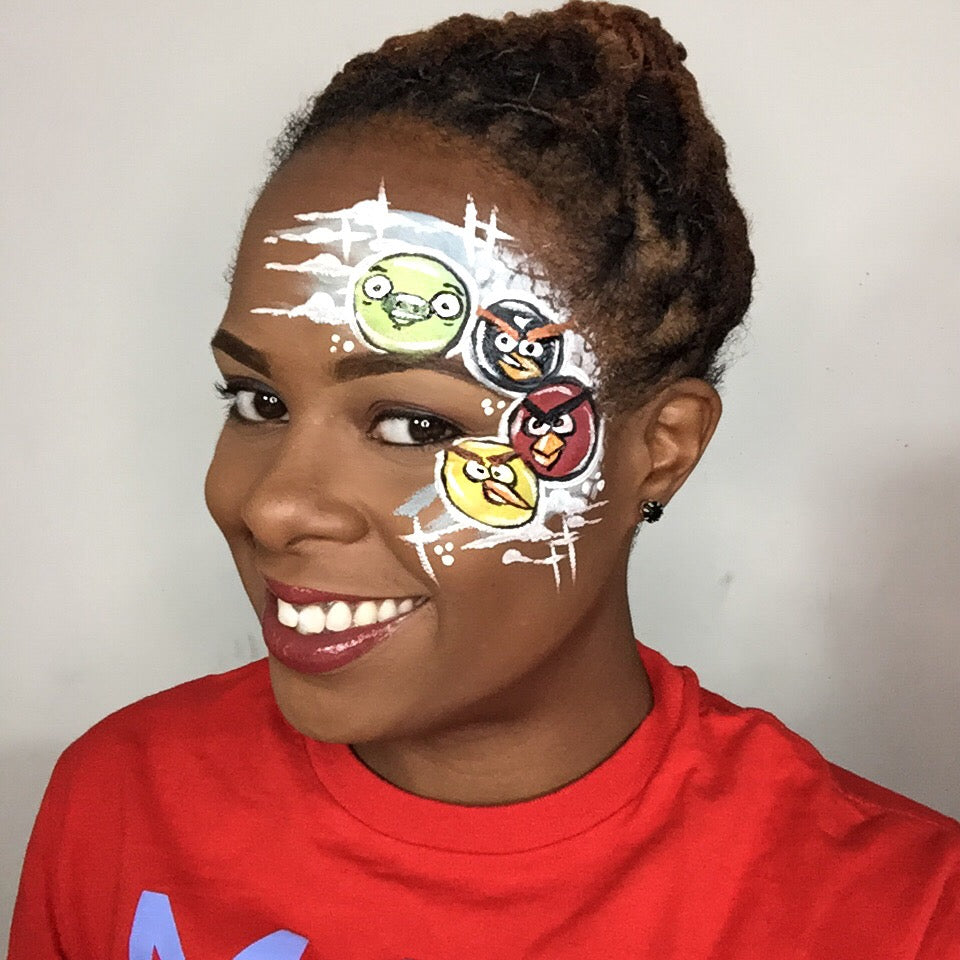 Angry Birds Face Paint Design Video by Zuri Fx