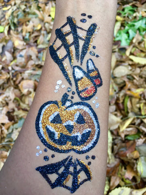 Freehand Glitter Tattoo Pumpkin by Zuri FX