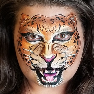Roaring Cheetah Face Paint Design by Kellie Burrus