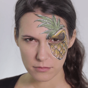 Angry Pineapple Face Paint Video by Shelley Wapniak