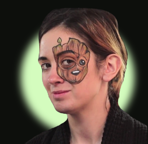Baby Groot Face Paint Video Tutorial by Kellie Burrus