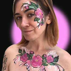 Pink Peonies Face Paint Design Tutorial by Kellie Burrus