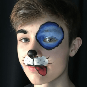 Split Cake Puppy Dog Face Paint Design Tutorial by Kiki