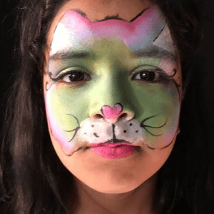 Split Cake Kitty Cat Face Paint Design Tutorial by Kiki