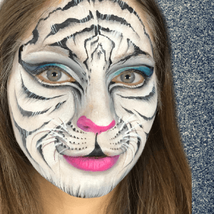White Tiger Face Paint Design Video by Athena Zhe