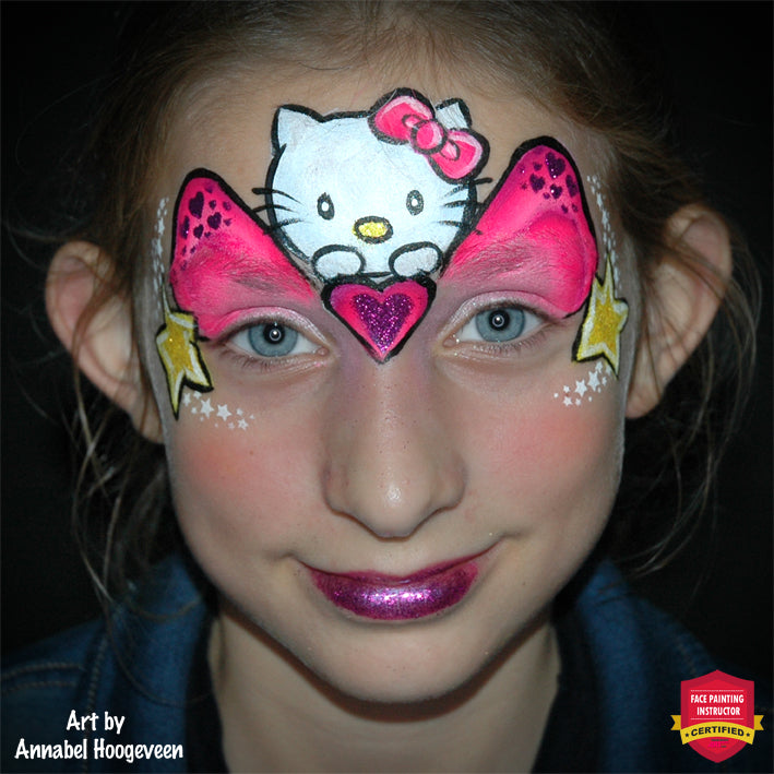 Cute Hello Kitty Face Paint Design by Annabel Hoogeveen