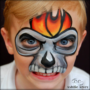 One Stroke Flaming Skull Mask by Artist Ashlie Alvey