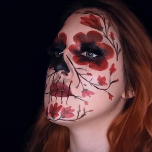 Floral Skull Face Paint Design Video by Ana Cedoviste