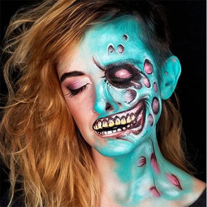 Bright Half Zombie Face Paint by Kellie Burrus