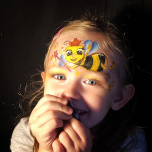 Cute Bee Face Paint Design for Kids by Marina