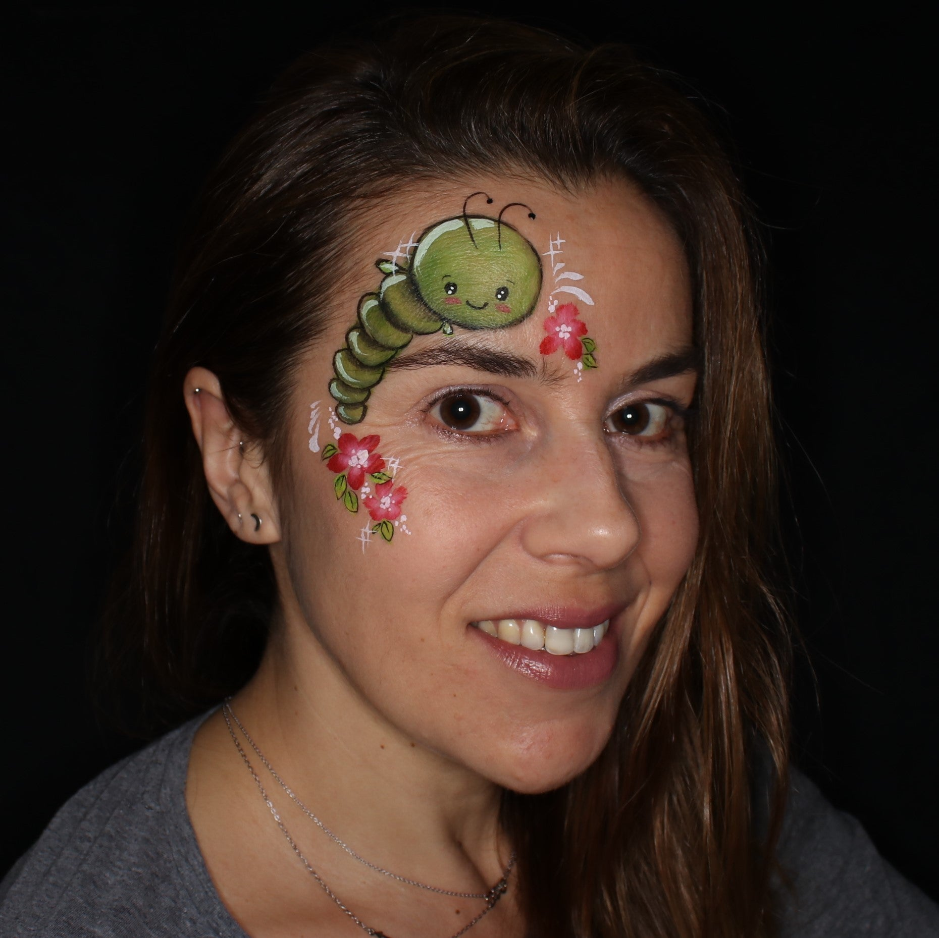 Kawaii Bug Face Painting Design by Belén Canosa