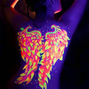 UV Angel Wings Body Paint Design by Francesca Marchitelli
