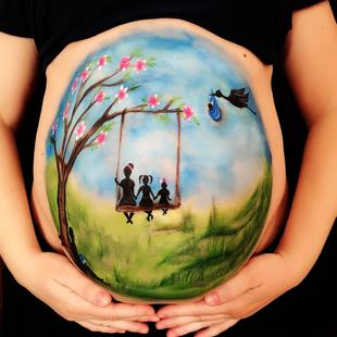 Spring Belly Painting by Marina Krmek