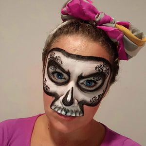 Simple Rose Skull Face Paint Design by Marina