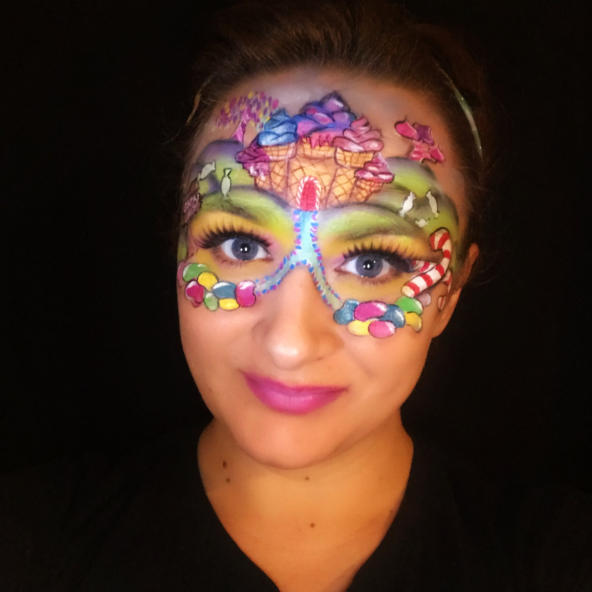 Candy Land Dream Face Paint Design by Marina