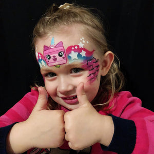 Lego Unikitty Face Paint Design for Little Squiggles by Marina