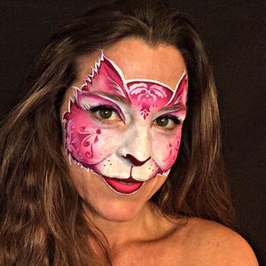 Pink Kitty Cat with Stencil Tutorial by Natalia Malley