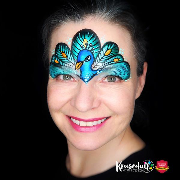 Peacock Forehead Design by Kristin Olsson