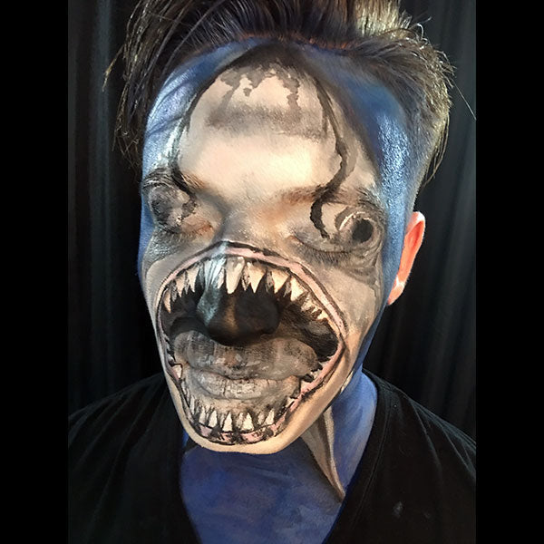 Full Face Shark Face Paint Video by Shelley