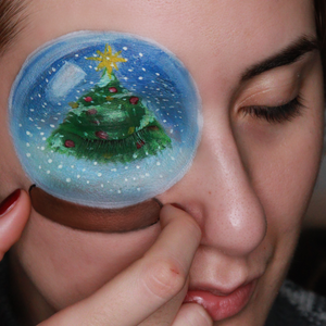 Snow Globe Face Paint Design Video by Ana Cedoviste