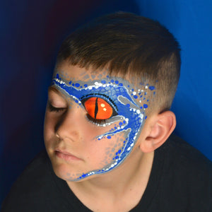 "Jurassic ""Blue"" Face Paint Design by Pam Kinneberg"